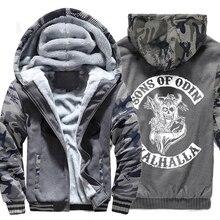 Men wool liner Clothes zipper thicken warm sweatshirts 2019 winter Son of Odin Viking hooded jackets Vikings man tracksuits