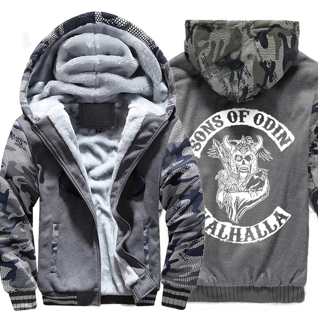 Men wool liner Clothes zipper thicken warm sweatshirts 2019 winter Son of Odin Viking hooded jackets Vikings Odin man tracksuits