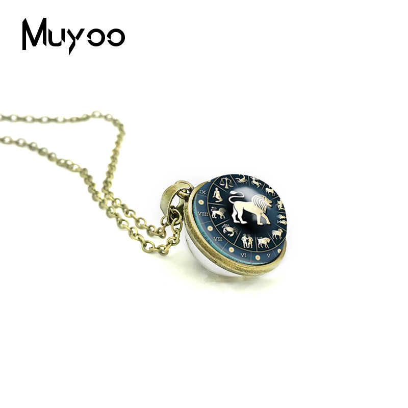 2018 New Zodiac Sign Double Sided Necklace Astrological Symbol Jewelry Leo Aries Pendant Silver Glass Dome Photo Necklaces