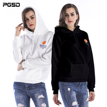 PGSD Simple Fashion Big size Women Clothes Autumn Winter Leisure Letter Printed Pocket Fleece Hooded Sweatshirt female Pullovers pgsd autumn winter sports women clothes fashion simple pure color pocket midriff baring frenulum hooded sexy casual suit female