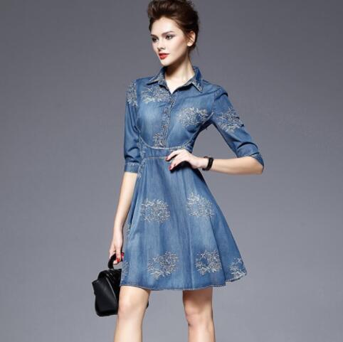 c9edcf0d20a Vintage Denim Robe Jeans 2019 Bleu Femmes Broderie D été Décontracté Grande  Féminine Fleur De Chemise ...