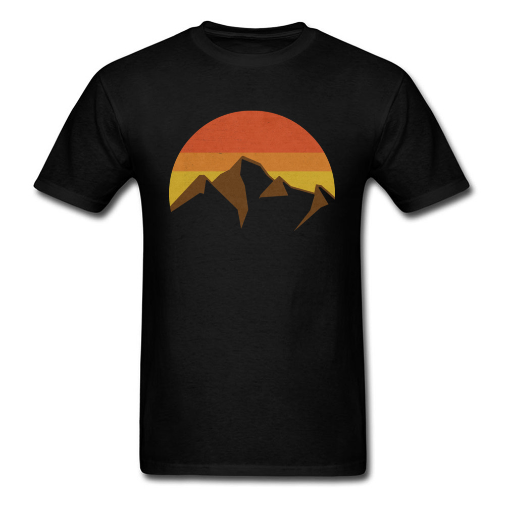 Adult T-shirt Men Black T Shirts Peaks And Summits Street Style Tops Clothing Autumn Short Sleeve Cotton Tee Shirt Simple Casual