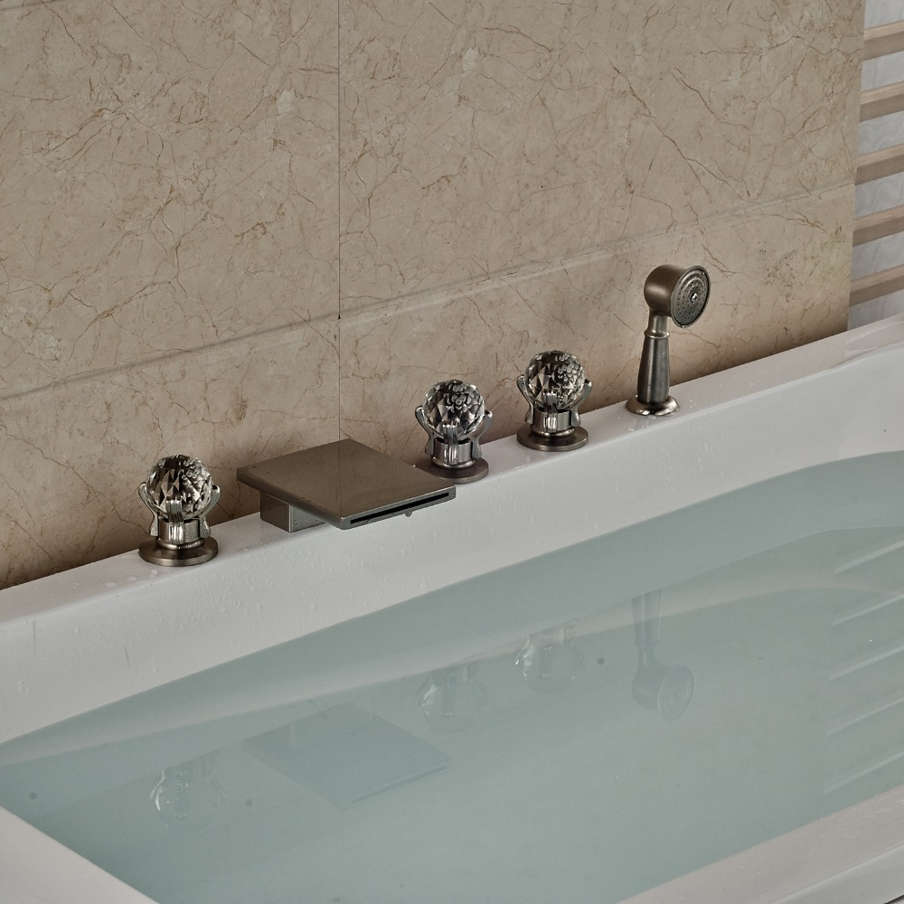 Nickel Brushed Finished Width Spout Bathtub Faucet With Brass Hand Sprayer Deck Mounted