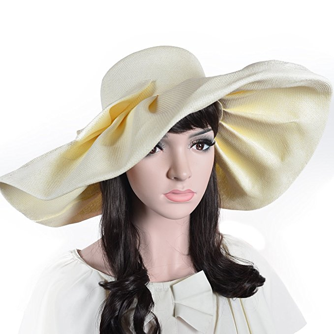 2aa1c738d7f Women Linen Floppy Ruffle Kentucky Derby Hat With Big Bowknot Wide Large  Brim Sun Hats Wedding