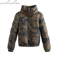NERLEROLIAN Camouflage Women S Bomber Jackets 2017 Autumn Winter Warm Outwear Coats Army Green Ladies Back