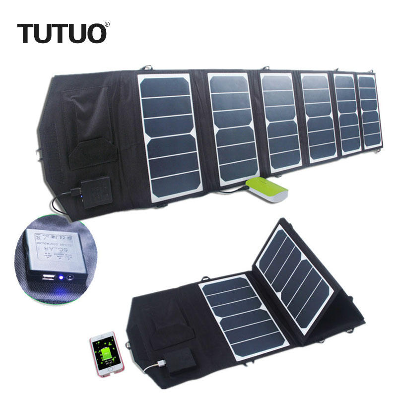 TUTUO 39W Solar Charger Dual Output Waterproof Foldable Solar Panel USB Charger for Laptop/Tablet/IPhone7/Power Bank W/Connector 10000mah dual usb output ports universal light solar mobile power bank charger for cellphone tablet