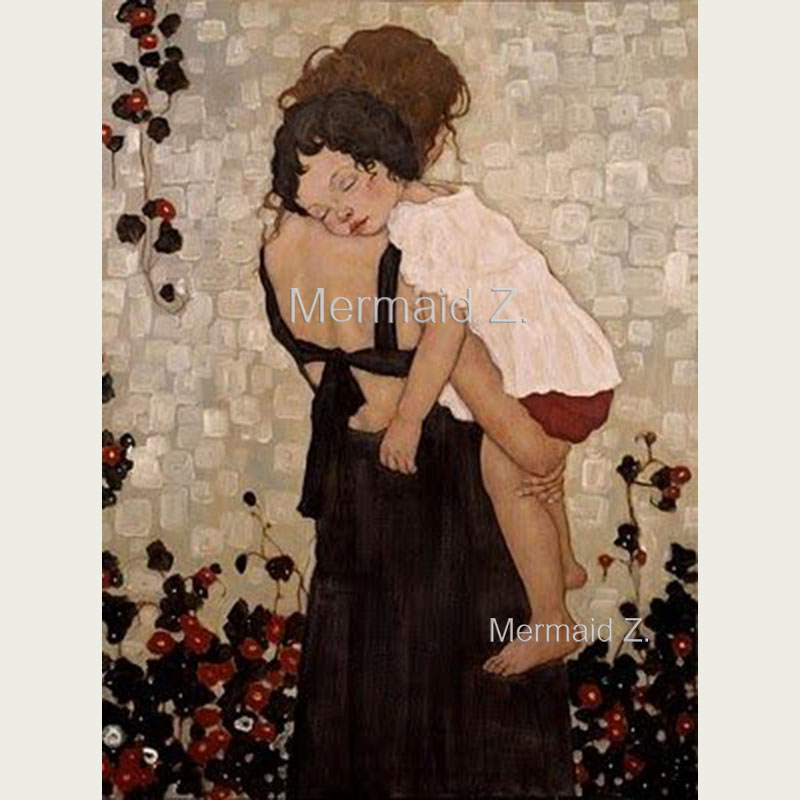 Hand-painted Artwork Gustav Klimt Mother And Child Hold Oil Painting On Canvas Living room decor home decor canvas painting