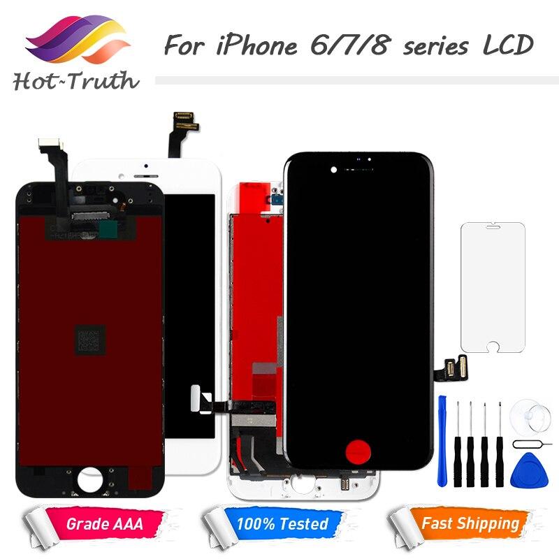 1 piezas pantalla LCD PANTALLA TÁCTIL PARA EL iPhone 6 6 S 7 8 7 pantalla premontado digitalizador LCD blanco negro + herramientas de vidrio templado
