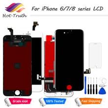 1 шт. ЖК-дисплей Дисплей Сенсорный экран для iPhone 6 6S 7 8 7 Plus Экран предварительно собраны планшета ЖК-дисплей белый черный + бесплатная инструменты закаленное Стекло