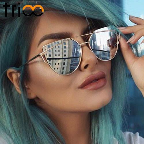 d3fc9326c7962 placeholder TRIOO Ouro Rosa óculos de Sol Olho de Gato Mulheres Óculos De  Grife De Luxo Twin