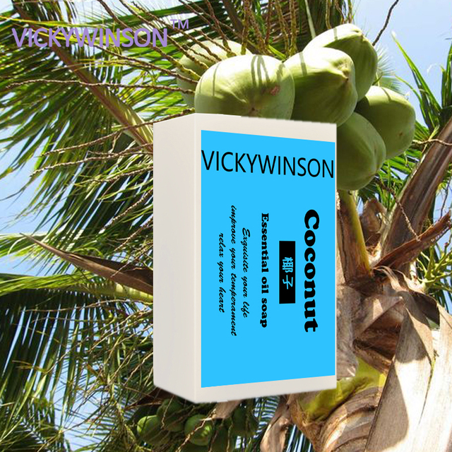 VICKYWINSON Herb 100% natural Coconut milk fruit Oil Handmade Soap skin cleansing wash Acne Shrink Pore Face Care 50