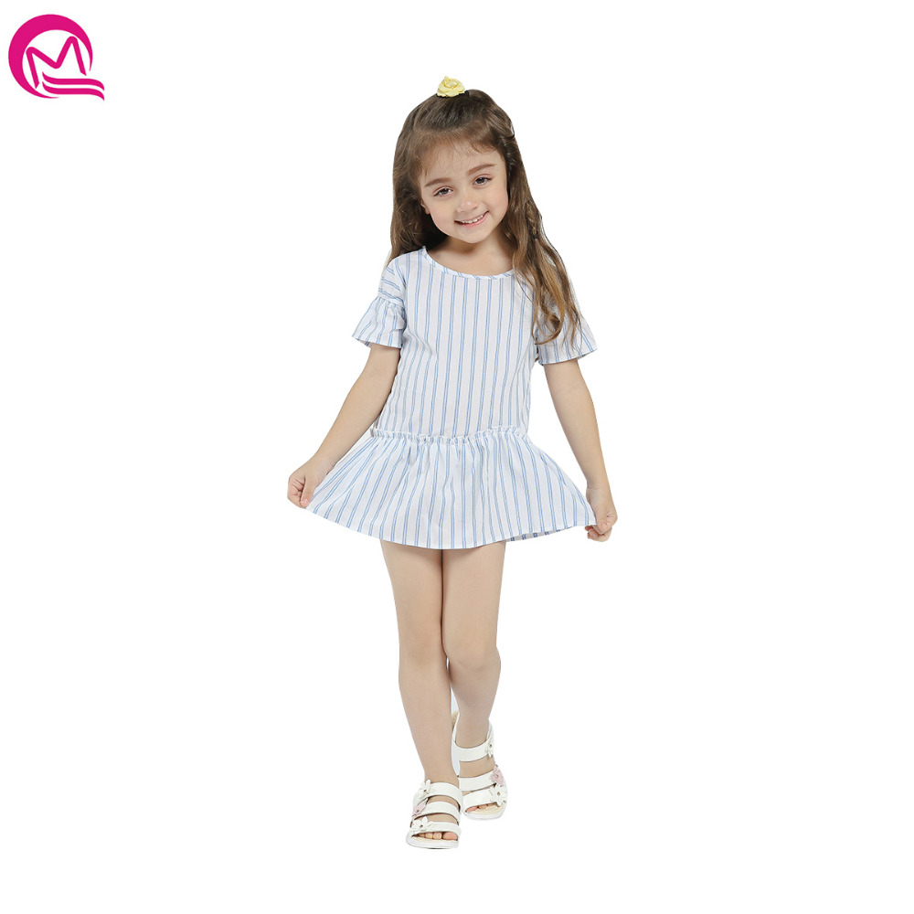 MIQI Children Clothing Girls Dress Baby Girl Clothes Striped A-line Cute Casual Dresses 2-6T 2018 Spring Summre luoyamy 2018 girls candy color a line dress baby kids spring summer shoulder less dress children striped patchwork dresses