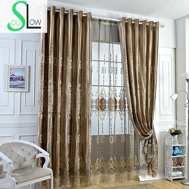 Coffee Italy Velvet Shade Curtain Laser Embroidered Living Room Voile Curtains Bedroom Luxury Fabric Tulle And