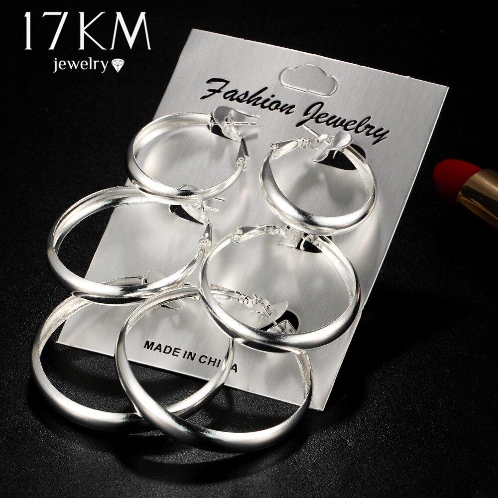 17 Km Silber Gold Farbe Glatte Hoop Kreis Ohrringe Set Für Frauen Mode Brincos Große Weibliche Oversize Loop Ohrring Schmuck Direktverkaufspreis Ohrringe