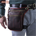 Vintage Sports Casual Outdoor Genuine Leather Cowhide Men Waist Pack Packs Drop Belt Leg Shoulder Chest Messenger Bag Bags Man