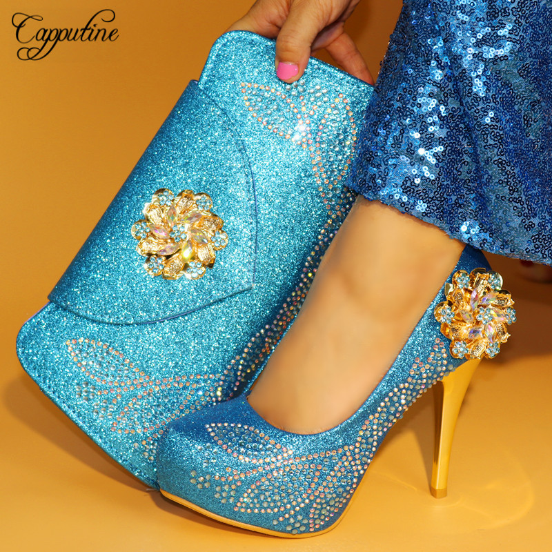Capputine Top Sale African Summer Woman Shoes And Bag Set Nigerian Spike Heels Shoes And Bag Set For Party Size 38-42 TX-862 capputine summer style africa low heels woman shoes and bag fashion slipper shoes and purse set for party size 38 42 tx 8210