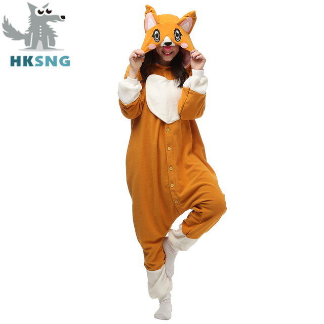 Новинка 2017 года животных для взрослых милые корги собака пижамы Footed  кигуруми комбинезоны костюмы косплея распродажа 23b13499a9fef