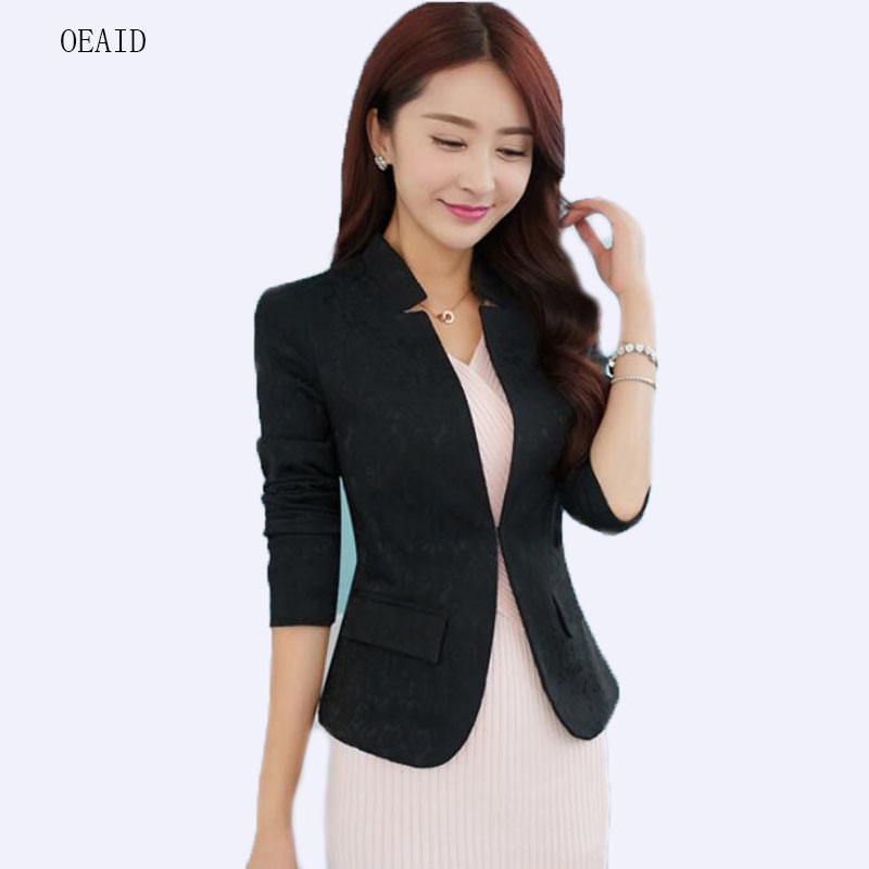 6b0b11011 Detalle Comentarios Preguntas sobre OEAID 2018 primavera las mujeres Blazers  manga completa blanco corto Delgado señoras abrigo chaqueta moda negro capa  ...