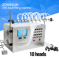ZONESUN Electric Digital Control Pump Liquid Perfume Water Juice Essential Oil With 10 Heads Filling Machine