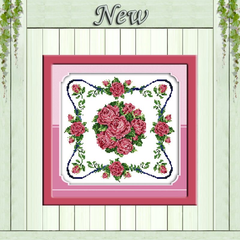 ツ)_/¯Rosa roja flor pinturas cuadrados patrones impreso sobre ...