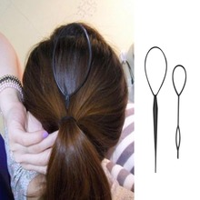 Plastic Hair Loop Styling Tool Magic Topsy Tail Hair Braid Ponytail Styling Clip Bun Maker For Girls Hairstyles