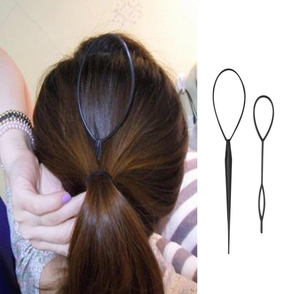 Plastic Hair Loop Styling Tool Magic Topsy Tail Hair Braid Ponytail Styling Clip Bun Maker For Girls Hairstyles image