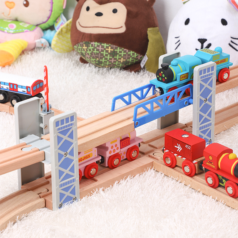 Wooden Fence Double Lift Bridge Bridge Overpass Wooden Train Tracks Railway Toys Set Accessories Overpass Model Kid's Toys Gifts