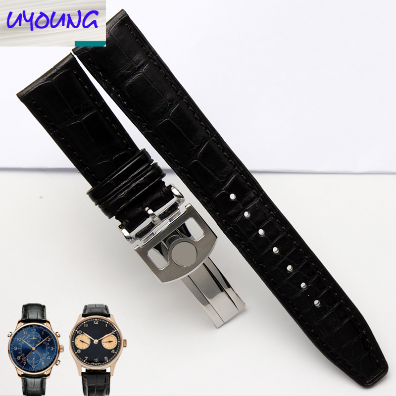 Uyoung bracelet de montre bracelet Alligator Adaptation iw371446 20mm + peau de crocodile naturel outils gratuits - 2
