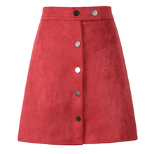 Women High Waist Suede A Line Skirts Vintage Style