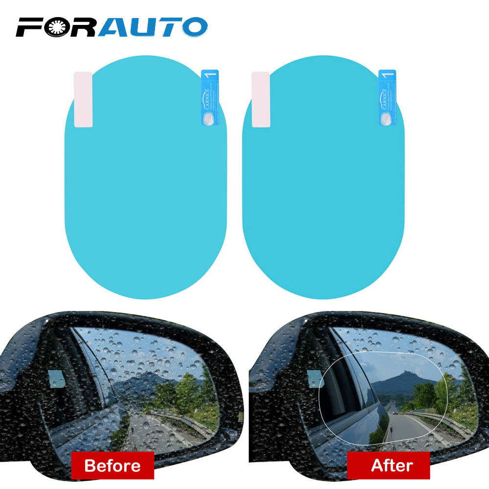 FORAUTO 2PCS/Set Anti Fog Window Clear Anti-glare Car Rearview Mirror Car Sticker