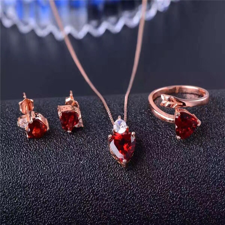 925 silver inlaid Changle Garnet Ring Necklace Pendant Earrings Set