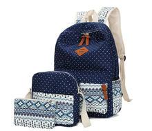 3 unids polka dot girls school mochila crossbody de las mujeres de viaje bolsas mochila back pack bolsa étnico azul niños lápiz de la pluma caso
