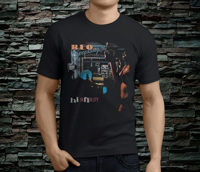 US $14 99 |New Reo Speedwagon Hi Infidelity Rock Legend Men's Black Tshirt  Size S 3Xl 2018 Brand T Shirt Men Fashion-in T-Shirts from Men's Clothing