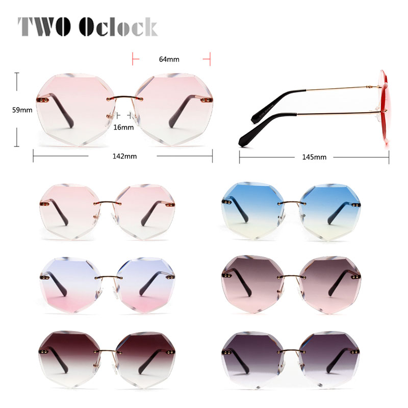 Top SaleWomen's Sunglasses Oversized Rimless Brown Luxury Shades Retro Oculos Gradient Big