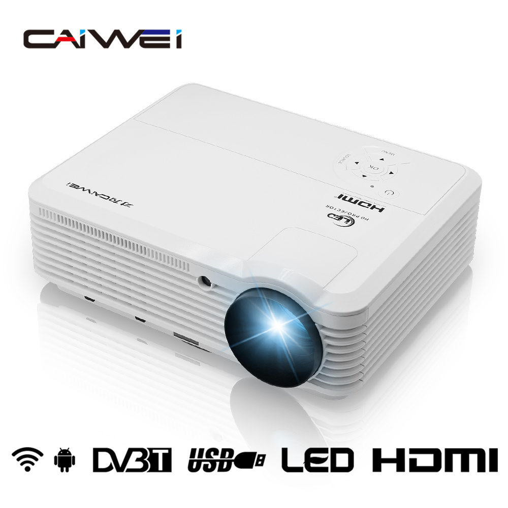 CAIWEI HD LCD LED Projector WXGA 1080p Support Portable Projector Wifi Projector Video Android TV for Mobile Tablet Home Cinema original gm60a portable mimi led video projector with wifi micacast airply for iphone ipad samsung android mobile phone pc
