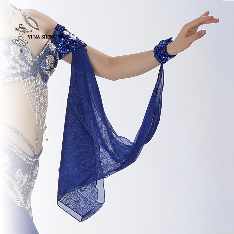 Belly Dance Costume Accessories Wholesale 1 Piece Arm Sleeves Wrist Adjustable Chiffon Sleeve Sequins Armbands 11 Colors