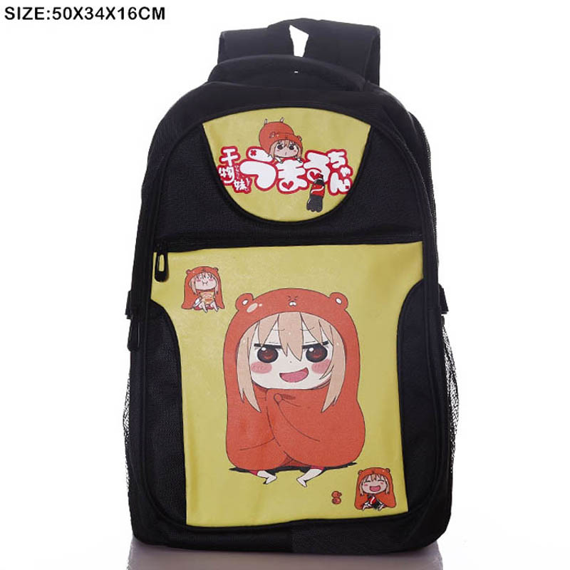 Japanese Anime Himouto! Umaru-chan Laptop Black Backpack/Doma Umaru Double-Shoulder/School/Travel Bag japan anime himouto umaru chan wallet doma umaru cosplay coin card women men bifold purse