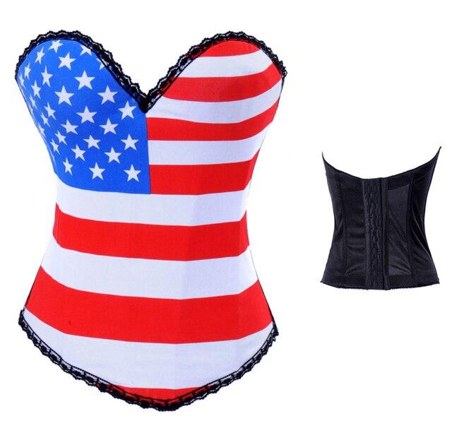 9f1494cafa American Flag Apparel Halloween Jasmine Costumes Burlesque Lingerie Hot  Tutu Plus Sexy Underbust Corset Top Crop Bustier 2269
