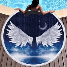 купить Large Round Beach Towel Large Round Microfiber Tassel Fairy Cupid Wings Print Bath Towels Yoga Mat Blanket toalla de playa дешево