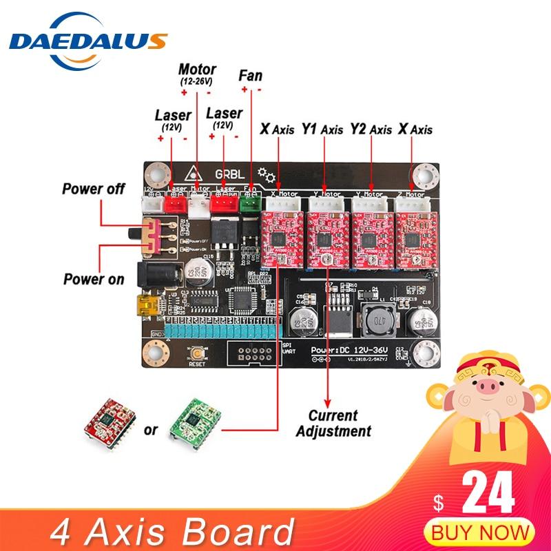 4 axe CNC Contrôleur Double Y Axe Bord Du Pilote USB Contrôleur Laser Conseil GRBL Contrôle Pour 3018 1610 2418 Gravure machine