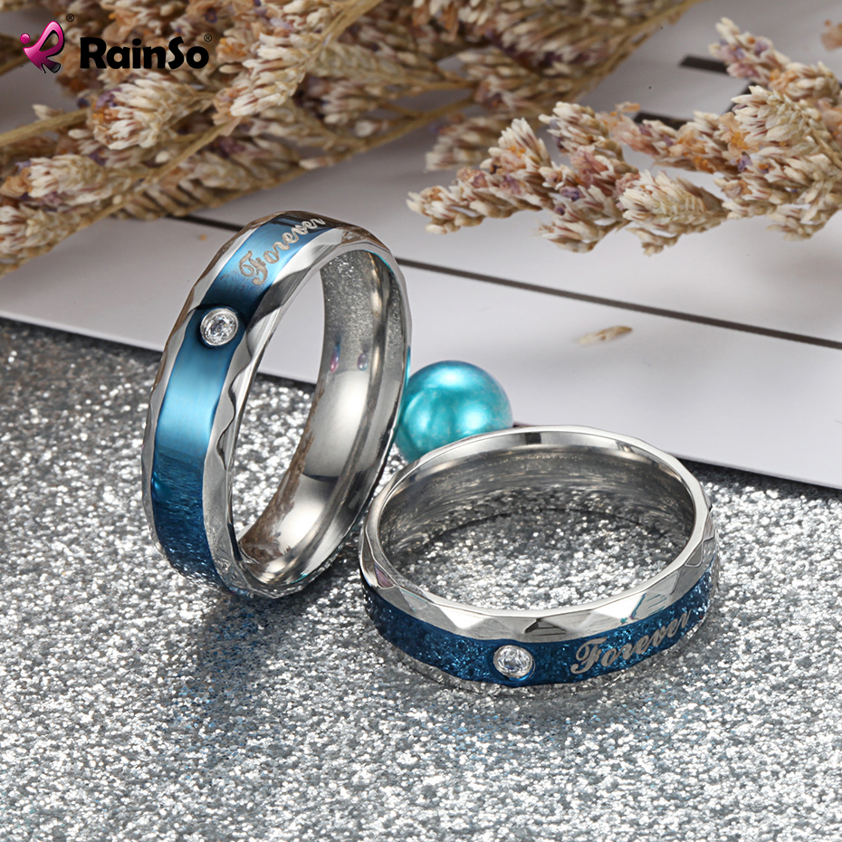 Rainso Romatic Lover Stainless Steel Couple Rings Classic Rings Wedding Rings for Men and Women Zircon Rhinestone Finger Ring