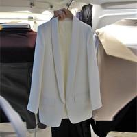 New 2017 Spring Summer Fashion Women Black White Blazer Long Sleeve Casual Slim Blazers Outerwear