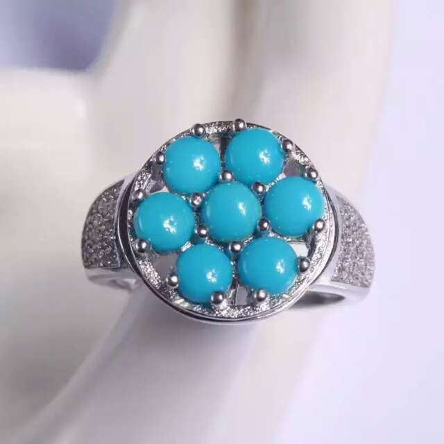 Natural green turquoise Ring Natural gemstone Ring 925 sterling silver trendy luxurious big Lucky round women's party Jewelry trendy fuax turquoise carved rounded rechtangle ring