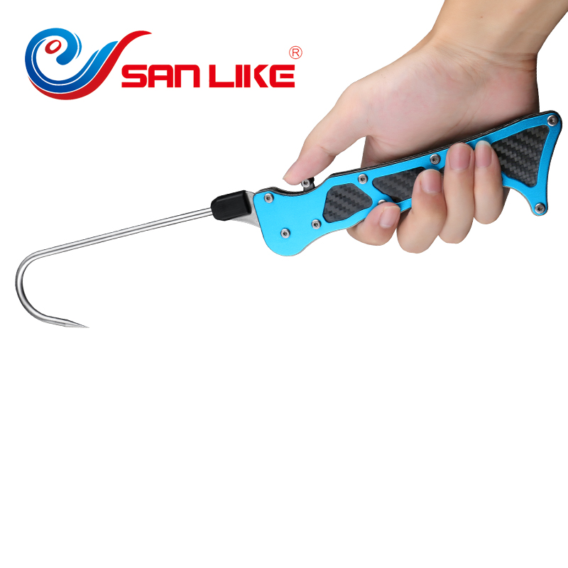 Outdoor Fish Grip 365 65 14mm Portable Telescopic Fish Gaff Fishing Spear Hook Fish Tackle Sea Accessory Tool Useful Wholesale in Fishing Tools from Sports Entertainment