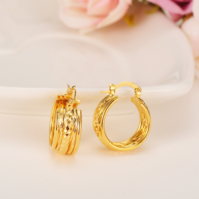 2pairs Good Luck Gold Earring Women Color Number Earrings Africa Jewelry