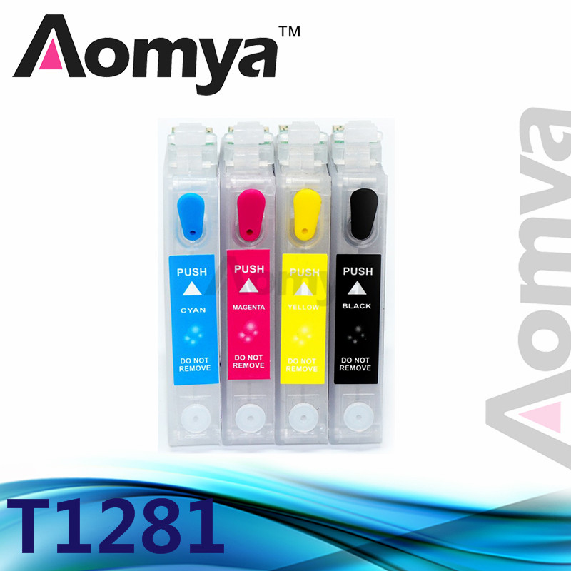 1 Set Empty Refillable Ink Cartridge For T1281-T1284 For <font><b>Epson</b></font> S22/SX125/SX40W/SX425/<font><b>BX305</b></font> Printer With Chip Without Ink image