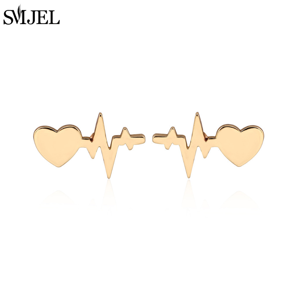 SMJEL New Fashion Love Heart with Heartbeat Stud Earrings Women Electrocardiogram Earings Girl Gifts brincos S175