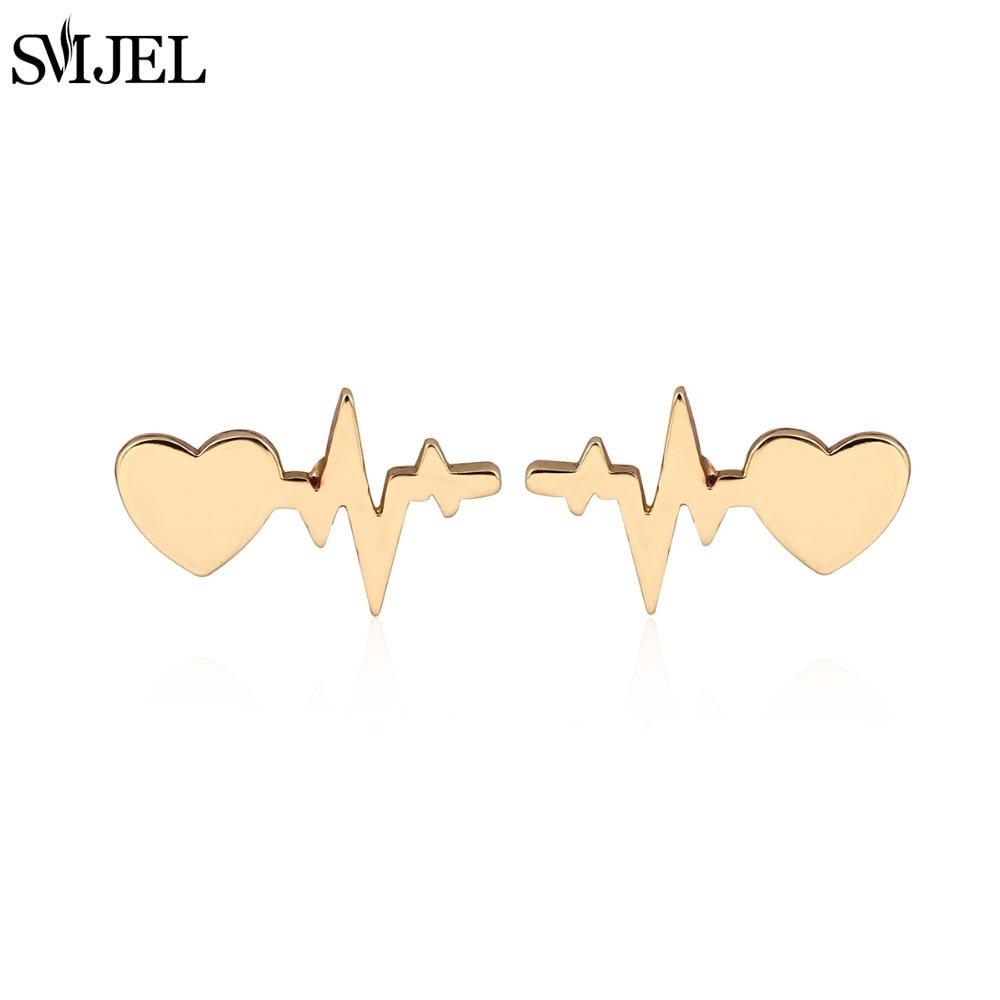 SMJEL New Fashion Love Heart dengan Denyut Jantung Anting-anting Pejantan Wanita Elektrokardiogram Earings Gadis Hadiah brincos S175