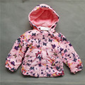 Kids autumn jacket 2016 new design toddler Girls thick jacket butterfly printed pink colour Girls clothes children's clothing