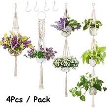 4Pcs/ Pack Macrame Plant Hanger Various Tiers Hanging Planter Basket Flower Pot Holder for Indoor Wall Outdoor Modern Boho Home